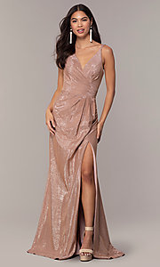 Image of Faviana metallic v-neck long formal dress. Style: FA-10257 Front Image