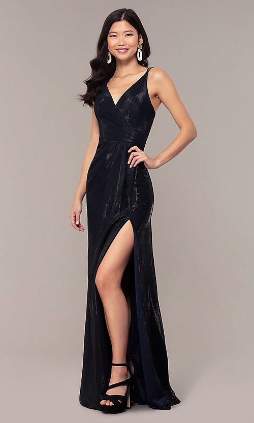 Image of Faviana metallic v-neck long formal dress. Style: FA-10257 Detail Image 4