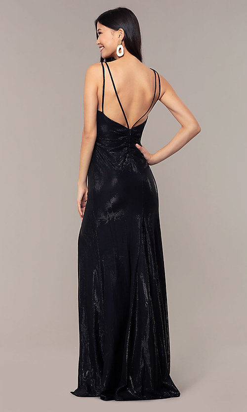 Image of Faviana metallic v-neck long formal dress. Style: FA-10257 Back Image