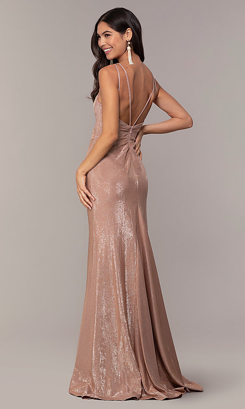 Image of Faviana metallic v-neck long formal dress. Style: FA-10257 Detail Image 5