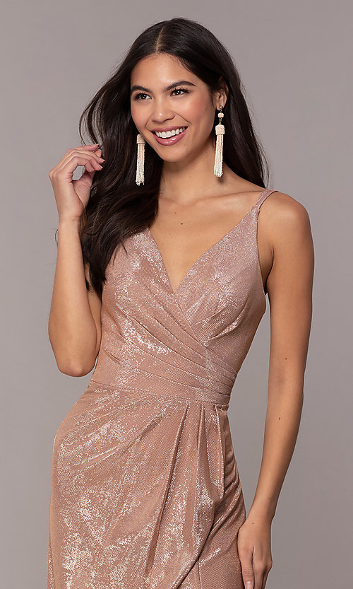 Image of Faviana metallic v-neck long formal dress. Style: FA-10257 Detail Image 6