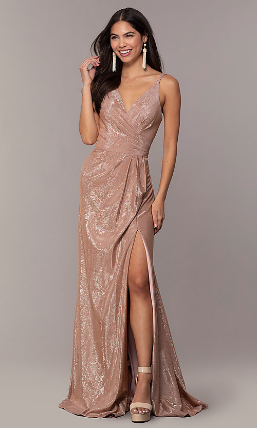 Image of Faviana metallic v-neck long formal dress. Style: FA-10257 Detail Image 3
