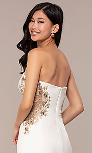 Image of Faviana long ivory strapless formal prom dress. Style: FA-S10304 Detail Image 2
