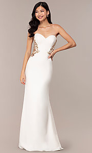 Image of Faviana long ivory strapless formal prom dress. Style: FA-S10304 Detail Image 3