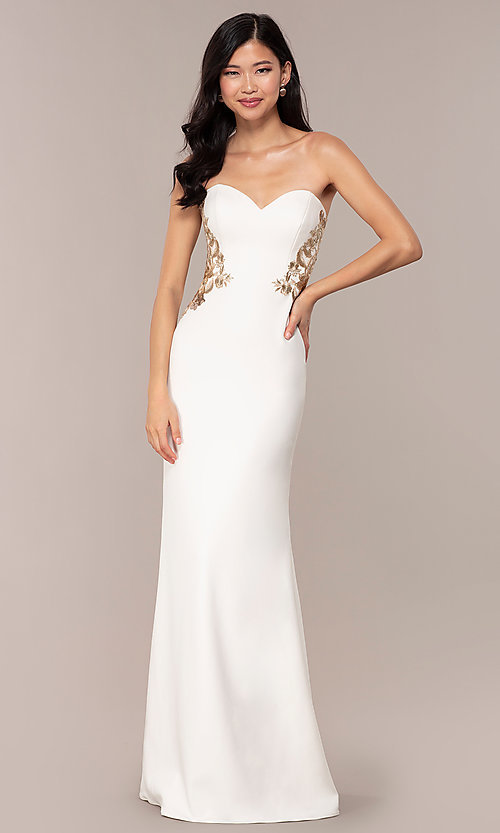 Image of Faviana long ivory strapless formal prom dress. Style: FA-S10304 Front Image