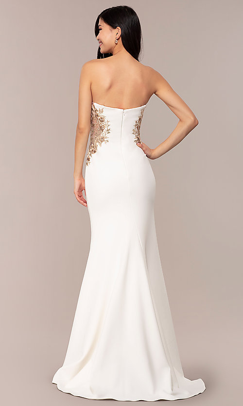 Image of Faviana long ivory strapless formal prom dress. Style: FA-S10304 Back Image