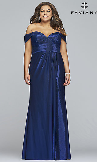 Faviana Plus Off-the-Shoulder Metallic Prom Dress