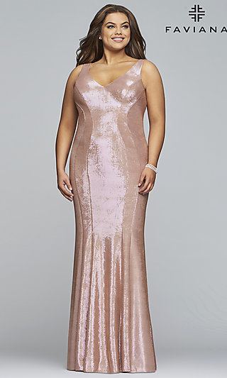 Metallic Plus-Size Long Formal Dress by Faviana