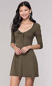 Image of sleeved short casual party dress in olive green. Style: BLU-BD9224 Front Image