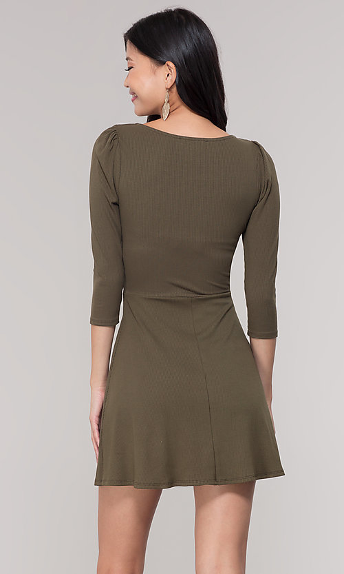 Image of sleeved short casual party dress in olive green. Style: BLU-BD9224 Back Image