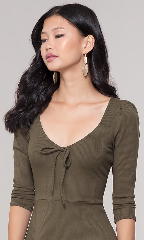 Image of sleeved short casual party dress in olive green. Style: BLU-BD9224 Detail Image 1
