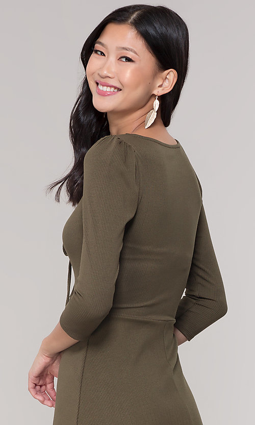 Image of sleeved short casual party dress in olive green. Style: BLU-BD9224 Detail Image 2