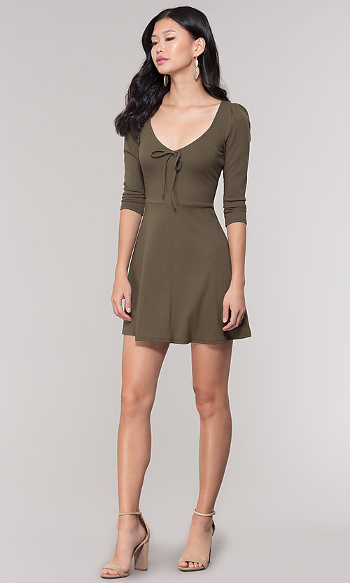 Image of sleeved short casual party dress in olive green. Style: BLU-BD9224 Detail Image 3
