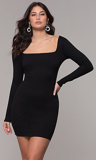 Cocktail Party Square Neck Long Sleeve LBD
