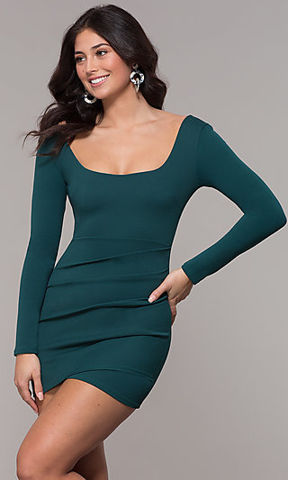 Long Sleeve Scoop Neck Short Holiday Party Dress