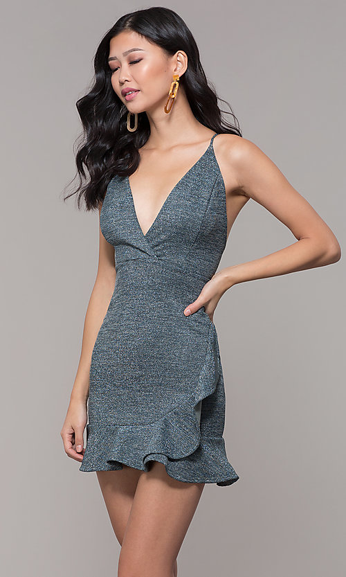Image of short v-neck holiday party dress with ruffled hem. Style: BLU-BD9403 Front Image