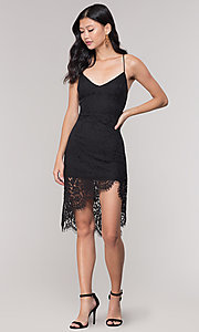 Image of asymmetrical-hem black lace corset party dress. Style: BLU-IBD9477 Detail Image 3