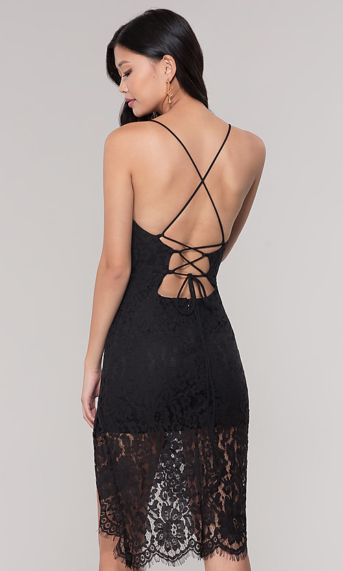 Image of asymmetrical-hem black lace corset party dress. Style: BLU-IBD9477 Back Image