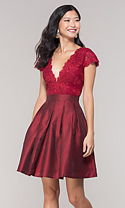 Image of short taffeta homecoming dress with lace bodice. Style: SOI-S18149 Detail Image 3