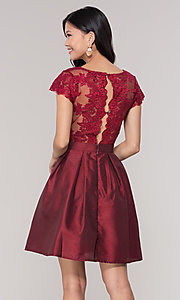 Image of short taffeta homecoming dress with lace bodice. Style: SOI-S18149 Detail Image 4
