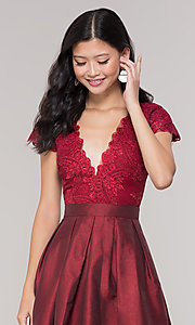 Image of short taffeta homecoming dress with lace bodice. Style: SOI-S18149 Detail Image 5