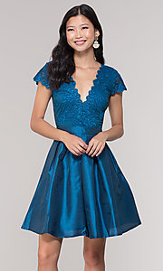 Image of short taffeta homecoming dress with lace bodice. Style: SOI-S18149 Detail Image 6