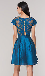 Image of short taffeta homecoming dress with lace bodice. Style: SOI-S18149 Detail Image 7
