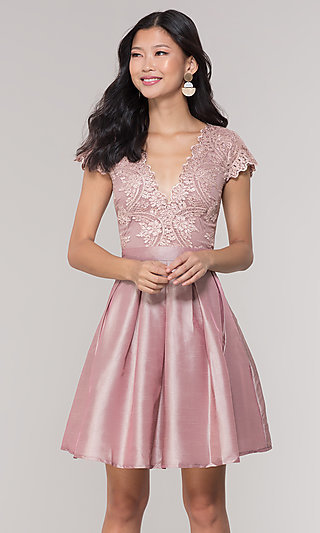 Short Taffeta Homecoming Dress with Lace Bodice