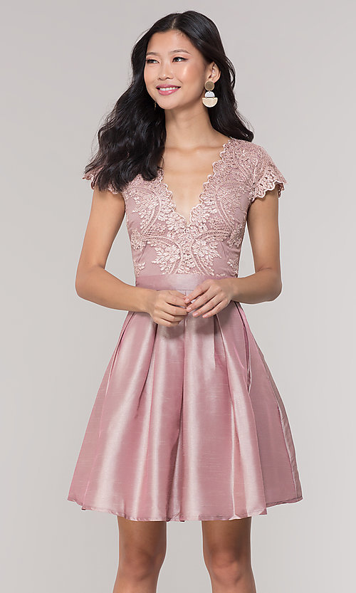 Image of short taffeta homecoming dress with lace bodice. Style: SOI-S18149 Front Image