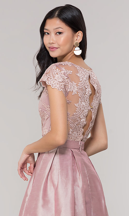 Image of short taffeta homecoming dress with lace bodice. Style: SOI-S18149 Back Image