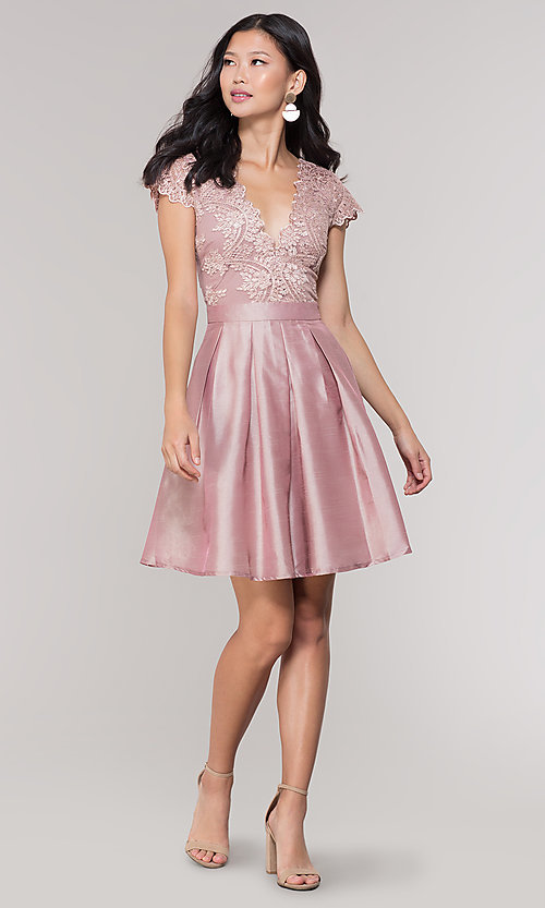 Image of short taffeta homecoming dress with lace bodice. Style: SOI-S18149 Detail Image 2