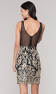 Image of short sheer-back holiday dress with embroidery.  Style: SOI-S18553B65 Back Image