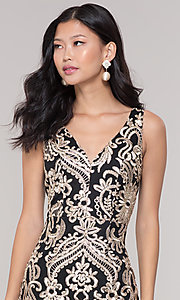 Image of short sheer-back holiday dress with embroidery.  Style: SOI-S18553B65 Detail Image 6