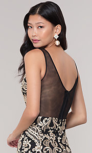 Image of short sheer-back holiday dress with embroidery.  Style: SOI-S18553B65 Detail Image 2