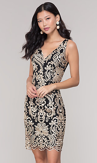 Short Sheer-Back Holiday Dress with Embroidery