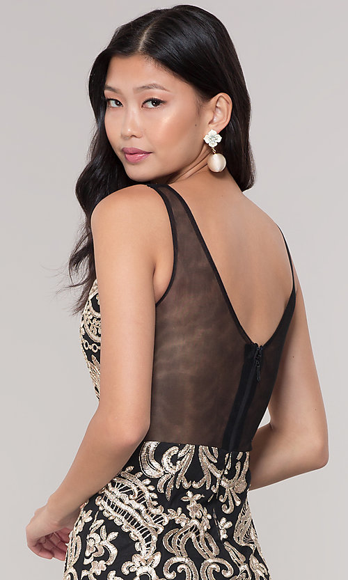 Image of short sheer-back holiday dress with embroidery.  Style: SOI-S18553B65 Detail Image 7