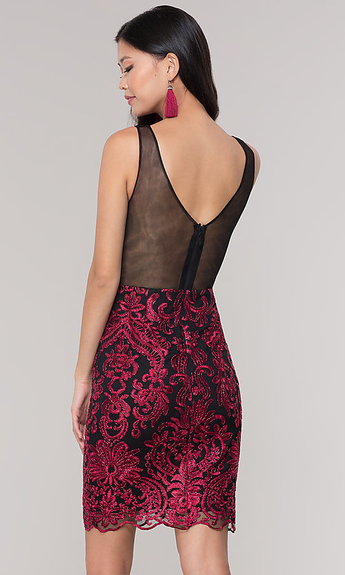 Image of short sheer-back holiday dress with embroidery.  Style: SOI-S18553B65 Detail Image 5