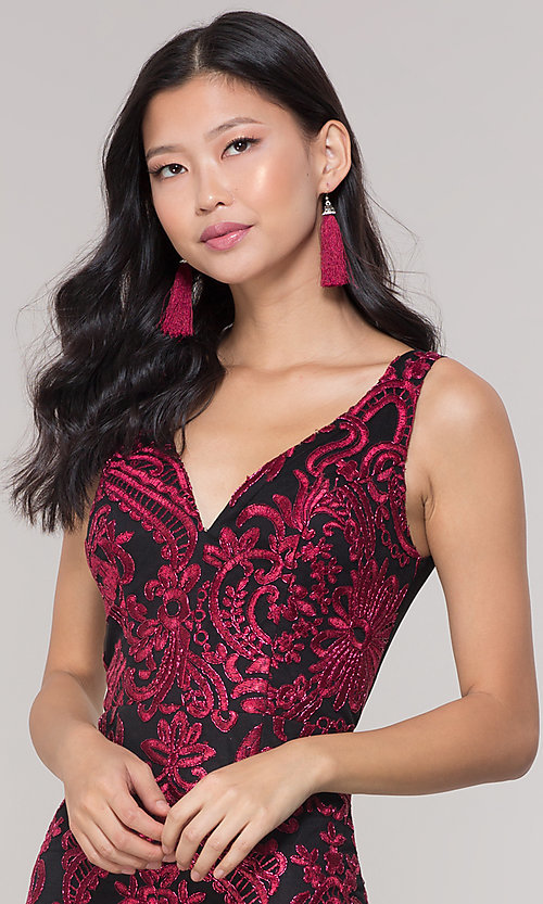 Image of short sheer-back holiday dress with embroidery.  Style: SOI-S18553B65 Detail Image 1