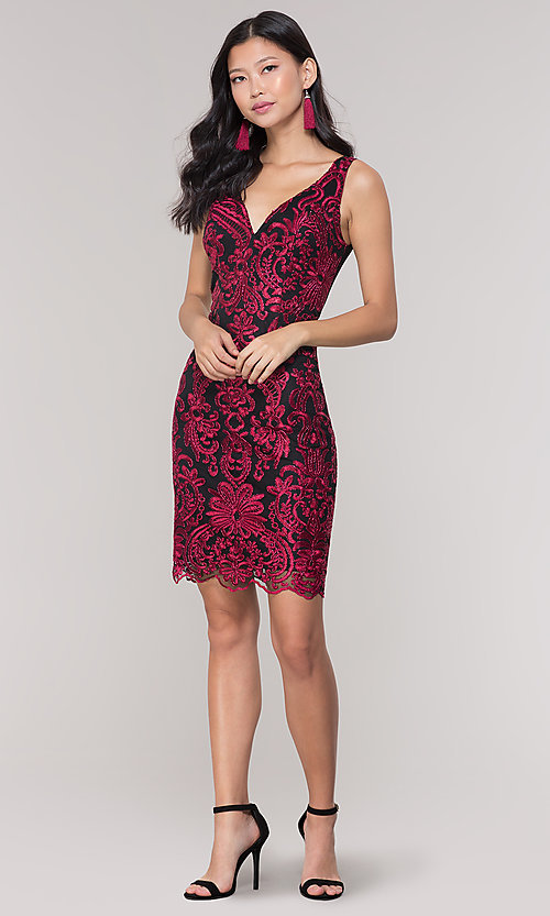 Image of short sheer-back holiday dress with embroidery.  Style: SOI-S18553B65 Detail Image 3