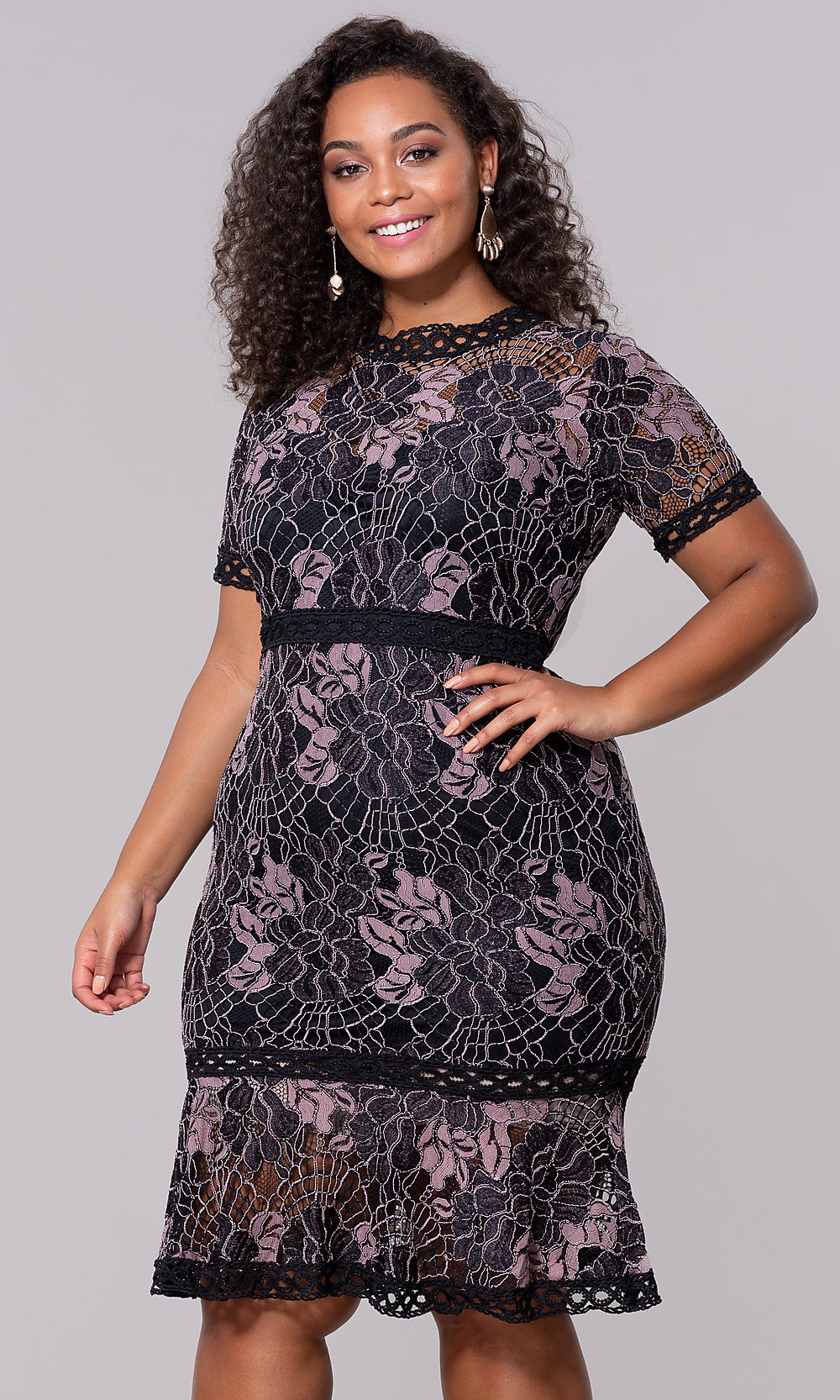 Wedding Guest Short Lace Plus-Size Dress