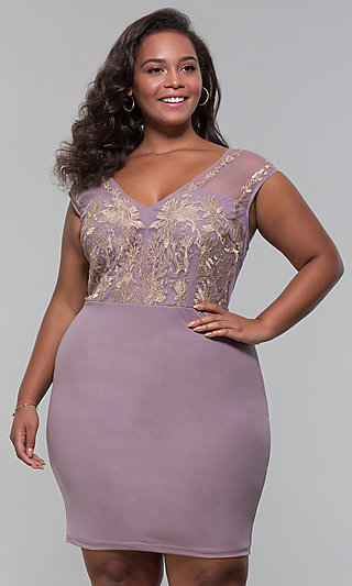 Mauve Plus-Size Short Party Dress with Embroidery