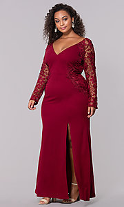 Image of plus-size long formal prom dress with lace sleeves. Style: SOI-PM40058 Detail Image 1