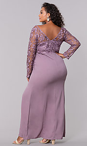 Image of plus-size long formal prom dress with lace sleeves. Style: SOI-PM40058 Back Image