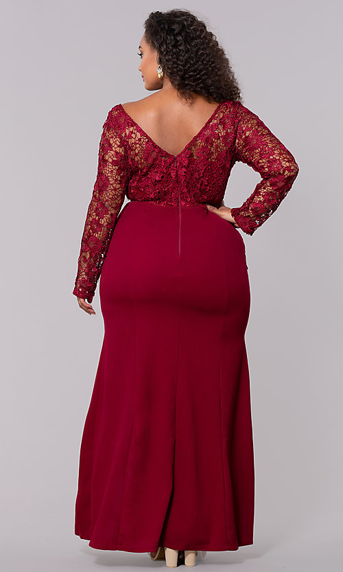 Image of plus-size long formal prom dress with lace sleeves. Style: SOI-PM40058 Detail Image 2