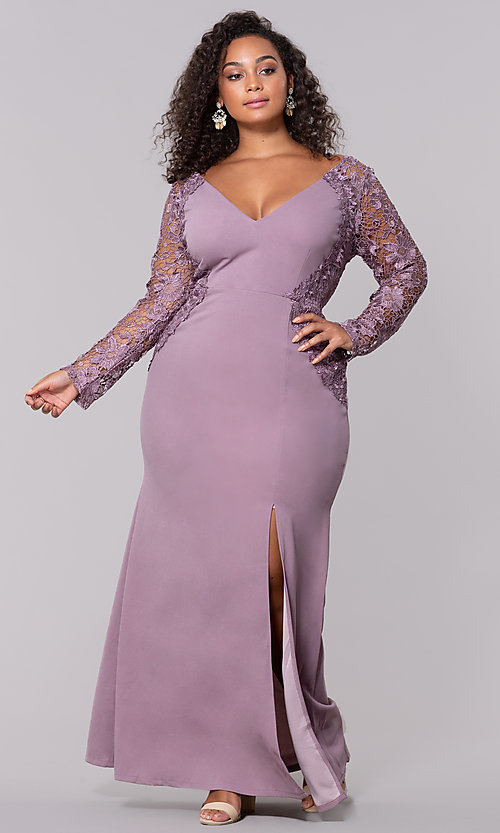 Image of plus-size long formal prom dress with lace sleeves. Style: SOI-PM40058 Front Image