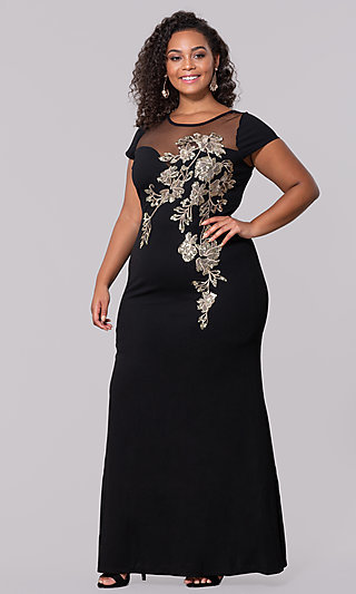 Sequin Appliqued Long Plus-Size Prom Dress