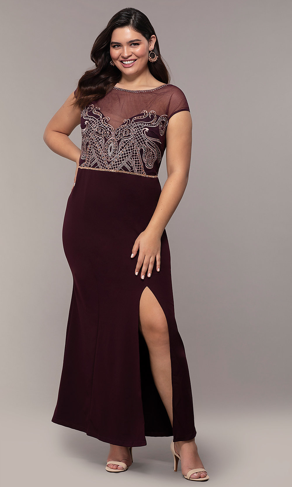 Embroidered-Sheer-Bodice Long Plus-Size Prom Dress