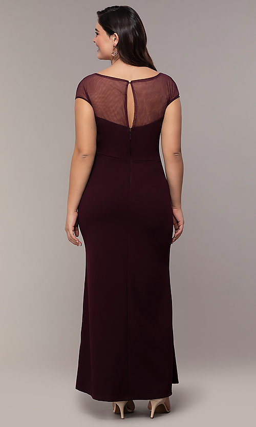 Image of accented-illusion-bodice long plus-size prom dress. Style: SOI-PM40092B51 Back Image