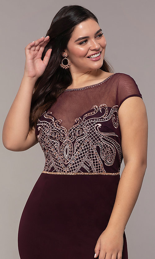 Image of accented-illusion-bodice long plus-size prom dress. Style: SOI-PM40092B51 Detail Image 1