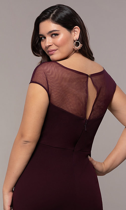 Image of accented-illusion-bodice long plus-size prom dress. Style: SOI-PM40092B51 Detail Image 2